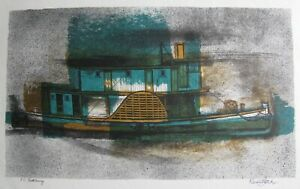 """KENNETH JACK AUSTRALIAN RARE LITHOGRAPH """"P.S. ROTHBURY PADDLE STEAMER"""" 1963 A"""