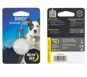 Nite Ize SpotLit LED Collar Light White, Carabiner Pet Locator Glows Flashes dog