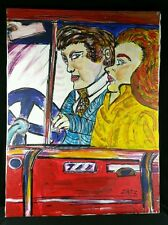 Original Painting Signed Zatz Oil & Marker On Canvas Couple In Car 18x24 FINE