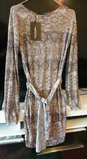 Pretty Little Thing Grey Snake Print Sheer Glitter Plisse Shift Dress size 8 new