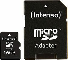 Intenso 16GB Micro SD (SDHC) Class 10, with SD Card Adapter Memory Card