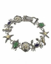 Sea Life Blue And Green Fashion Silver Two Tone Chain Bracelet Magnetic Clasp