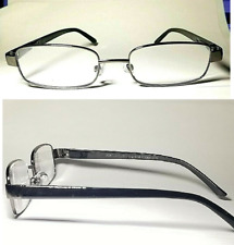 2 Pair Foster Grant Sailor Gun Metal Reading Glasses Spring Hinges Black Stems