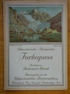 1939 Furkapass Swiss Alps fold-out topographical map, booklet, photos