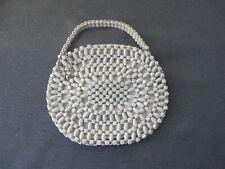 Vintage art deco flapper Czech Original Schowanek white wooden beaded purse