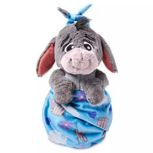 "Disney Parks Eeyore Babies Blanket Pouch Baby 10"" Plush Doll Winnie The Pooh NEW"