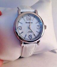 63ed89d6831 Armitron agora Senhoras De Madrepérola Mostrador Relógio Pulseira De Couro  Branco 75 3873SV-H16