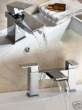 GEMINI WATERFALL BATHROOM TAP BASIN MONO MIXER BATH FILLER SET SOLID BRASS