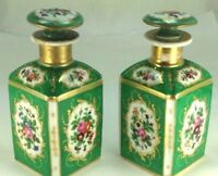 Elegant French Antique Tisset Twin Hand Painted Porcelain Perfume/Scent Bottles