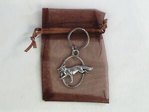 Fox Running Keyring Key Chain Fine English Pewter supplied in Organza Gift Pouch