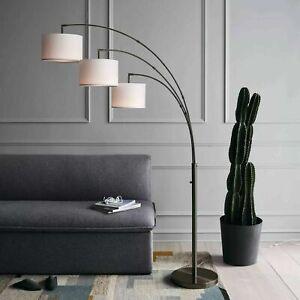 Project 62 Avenal Shaded Arc Floor Lamp Bronze  3 Light w/Linen Shades ~Open Box