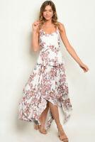 White Floral Sleeveless Maxi Dress Size Medium Handkerchief Hem Sundress Travel