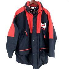 Fila Vintage Mens Winter Coat XXL Blue Red Heavy Warm spellout