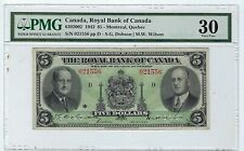 1943 Royal Bank $5. Canadian Chartered Note,Pmg 30