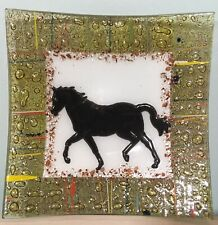 Vintage Fused Glass Square Plate With Horse Design