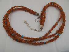 JAY KING DRT Mine Finds 3-Strand AMBER & TURQUOISE Sterling Silver 925 Necklace