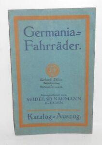 Katalog Germania Fahrräder Fahrrad Seidel & Naumann Dresden um 1920 (H8