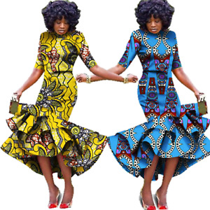 African Wax Print Formal Maxi Dress For X11484