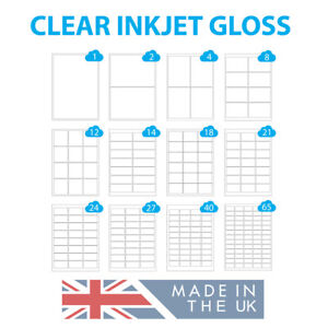Clear Gloss Inkjet Labels A4 Sheets, Transparent Polyester Waterproof Stickers
