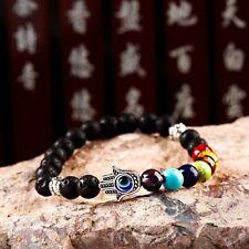 Men Women 8mm Natural Stone Palm Shape Energy Reiki 7 Chakra Bracelets Jewelry