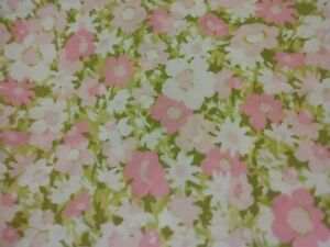 Vintage MCM Marvelaire Springmaid Pink Floral Fitted Sheet Sz Double/ Full 81x97