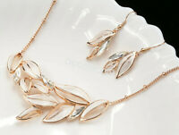 white leaf marquise cut crystal statement rose gold plated necklace earrings S73