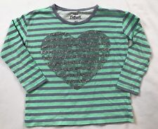 Crewcuts 6-7 Years Blue Gray Striped Heart Long Sleeve Collectible Tee Top Shirt