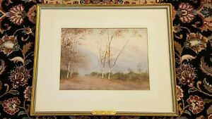 """Mariano Ortuzar """"FALL SUNSET"""" Watercolor Painting, Signed & Framed"""