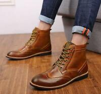 Men's Brogue Leather Lace-up Dress Formal Business Oxford Ankle Boots