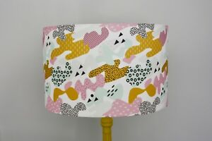 Lampshade in a 80's Memphis inspired fabric, palette of pink, mint, and yellow