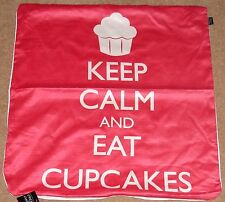 "Keep Calm and Eat Cupcake Stampa 24""x24"" Copricuscino in Finta Pelle Scamosciata lavabile a mano"