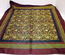 Vintage Silk Scarf  Signed Leo Narducci Square Rolled Hem Brown Print Fabric