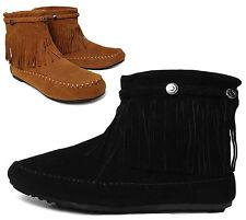 NEW Women's Sz 5 Fringe Moccasin Tribal Western Flat Heel Ankle Boots BLACK TAN