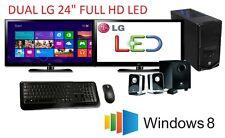 """Intel Core i7 4790 3.6GHz/ 16GB/ 2TB HDD/ DUAL 24"""" LED/ GT610 2GB/ USB3/ WIN 8"""