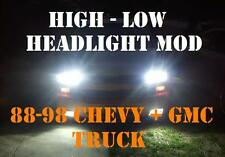 4-High Beam Headlight Mod Kit 88-98 Chevy Gmc Yukon Tahoe Full Size Truck (Fits: Gmc)