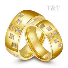 T&T 8mm 14K Gold GP Stainless Steel Comfort fit Wedding Band Ring CZ For Couple