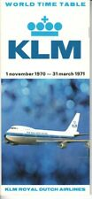 KLM Royal Dutch Airlines timetable 1970/11/01