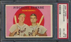 1959 Topps #34 Pitchers Beware Al Kaline Charlie Maxwell Detroit Tigers PSA 6