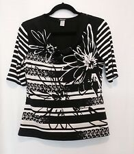 Gerry Weber Blouse black white Cream Floral Stripe Size 6