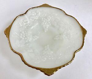 Milk Glass Gold Trim Low Bowl with Grape Vine