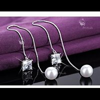 18k white gold gf made with SWAROVSKI crystal pearl dangle earrings 925 silver