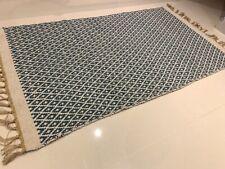 Light Denim / Teal Blue Geometric Handmade Recycled Cotton Jute Kilim Rug Runner