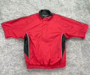 Footjoy Dry Joys Rain Shirt Men Small Red Quarter Zip Golf Short Sleeve Pockets