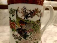 Vintage Satsuma Peacock Mug Tea Cup Heritage Mint Japan Saki