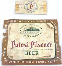 Irtp Potosi Brewing Pilsner Vintage Beer Label Wisconsin Steam River Boat 7oz