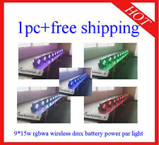 1pc Wireless DMX Battery Power 9*15W Led Par Light RGBWA 5 in 1 Free Shipping