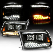 Black Clear Dual Projector Headlight LED Switchback Signal For 09-18 Dodge Ram