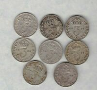 EIGHT 1926 FIRST TYPE SILVER THREEPENCES IN GOOD FINE OR BETTER CONDITION