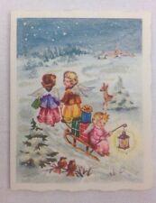 Unused Tiny Vtg Hallmark Christmas Gift Card Tag Angels Glitter Deer Snow Birds