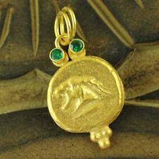 Handmade Designer Replica Bronz Roman Coin Pendant Gold Over Sterling Silver